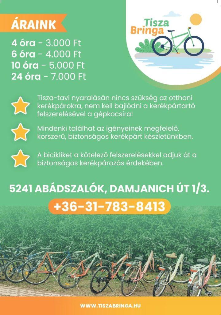 Tisza Bringa kerékpárkölcsönző szólólap